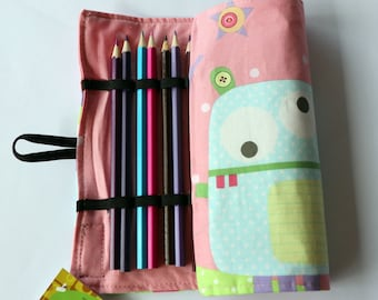 Large Pencil Roll - Holds up to 24 pencils (included) - pink monster print