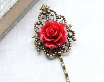 Bridal Hair Pins Red Rose Bobby Pins Roses for Hair Vintage Style Bobbies Bridesmaid Gift Romantic Hair Accessories Antique Brass Filigree