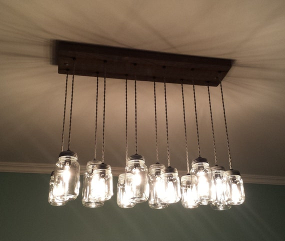 14 Light Diy Mason Jar Chandelier Rustic Cedar Rustic Wood
