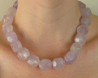 Unique Genuine Amethyst Gemstone & Sterling Silver Statement Necklace