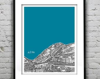Alta Utah Skiing ski Poster Print Art Skyline  UT Version 1