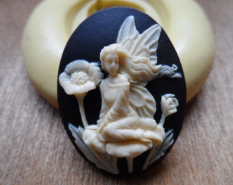 Cameo Cabochon Mold, Fairy on the Poppies  Mold, Silicone push mold for resin, polymer clay, sugar craft- food safe, non toxic