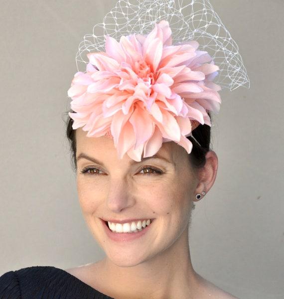 Derby Fascinator, Wedding Fascinator Hat, Pillbox Hat, Peach Fascinator, Coral Fascinator, Derby Hat, Wedding Hat