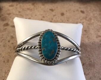 Navajo Kingman Turquoise & Sterling Silver Cuff Bracelet Signed