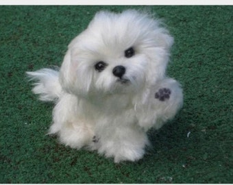 Felt Miniature of your Pet / Custom Pet Portrait / Needle Felted Dog / handmade by Gourmet Felted / example Maltese / Pet Lovers gift