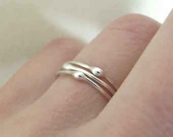 Sterling Silver Stacking Ring Set, Rain, Set of Three