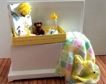 Miniature One Inch Scale Filled Yellow and White Baby's Trunk