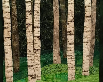 Art Quilt Birch Trees 11, Wall Quilt, Wall Hanging
