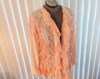 Embellished Upcycled Sweater Ribbon Fashion Remix Recycled Refashioned Cardigan Altered Couture Cream and Salmon Large SWTR4-04