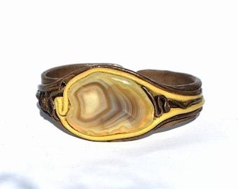 yellow agate bracelet, agate slice cuff bracelet Leather bracelet with agate gemstone large stone bracelet yellow brown wide bracelet
