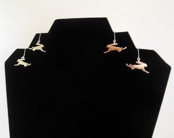 Leaping hare earrings
