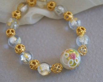 Murano Glass Stretch Bracelet White Bracelet with Pink Rose Floral Pattern and Gold Vermeil Beads Murano Glass Jewelry Stackable Bracelet