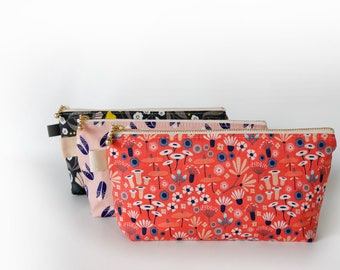 Pink cosmetic pouch, floral zipper pouch, bridesmaid gifts, pencil case, makeup pouch, gift for garden lover, organic cotton