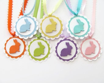 Easter Gift Tags,Scalloped Favor Tags, Easter Bunny Tags, Treat Bag Tags, Baby Shower Favor Tags