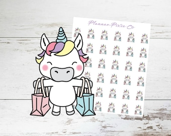 Unicorn Planner Stickers // Shopping Spree // Girls Day // 010