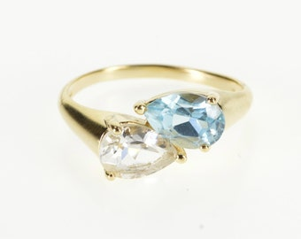 14K Pear Cut Blue Topaz Cubic Zirconia Freeform Ring Size 9 Yellow Gold