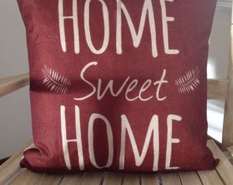 Home sweet Home Cover and Feather pillow insert and Cotton Linen Cover, 18×18, Free Shipping..