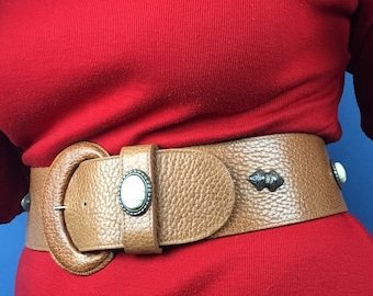 Tan leather belt with western embellishments