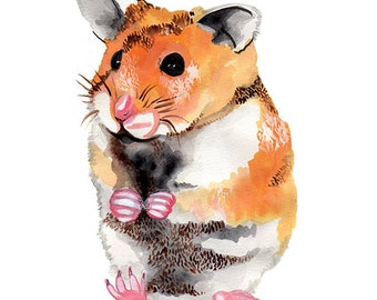 Watercolour hamster gift card