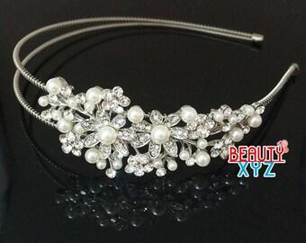 Silver Wedding Crystal Rhinestone pearl Headband hair piece for party
