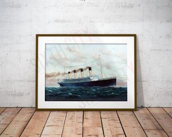 "RMS Titanic Art Print - ""RMS Titanic On Her Maiden Voyage"" - 11x17"