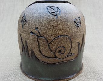 Green Blue Ceramic Napkin Holder with Carved Snails