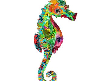 illustrated seahorse postcard, art card seahorse, art postcard,  colorfull seahorse print, animal greetings card -Eco Friendly Stationery