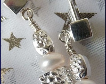 Flowers in Silver and Pearls Sterling POST Earrings