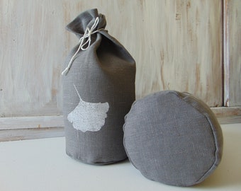 Linen fabric storage bag Kitchen Vegetable Produce Grocery Organic Reusable food bag Ginko Leaf Hand print Muslin