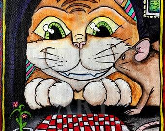 Cat and Mouse art, Giclée Art Print, Wall Hanging, Art Decor, home decor, wall art, kids room art, unique gift