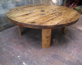Corning Industrial Cable Spool Coffee Table