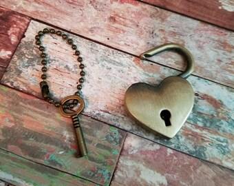 Lock and Key Pendant Heart Lock Pendant Real Lock Pendant Padlock Key to My Heart Pendant Set