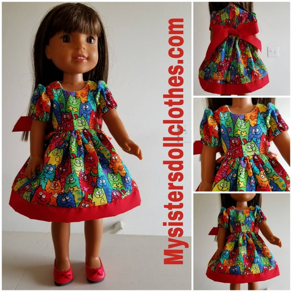 Cats Everywhere Willie Wisher Doll Dress & Red Shoes