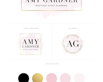 Branding Kit - Logo Design - Branding Package - Premade Logo - Watercolor Logo - Photography Logo - Boutique Logo - Gold Logo - Handwritten