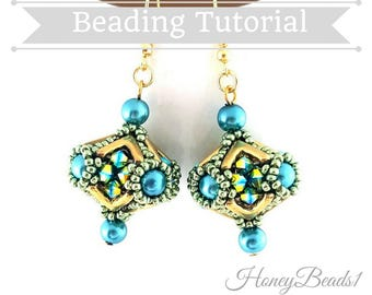 PDF-file Beading Pattern Beaded Bead 'AVA Marquee' Earrings Beading Tutorial by HoneyBeads1