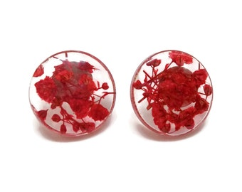 Post Earrings with Baby's Breath and Resin.  Stud Earrings with Sterling Silver.  Red Post Earrings.  Resin Jewelry.  Stocking Stuffer.