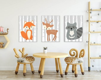 Set of Three Woodland Nursery Art Prints - Instant Download, Kids room Wall Art, Forest Animals Printable, Wild