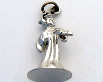 Vintage Graduation Charm, Graduate standing in Cap and Gown in Sterling Silver