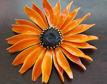 Vintage Large Orange Multi Petal Enamel Flower Brooch Pin