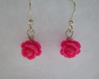 Rose Earrings, Flower Girl Earrings, Bridesmaid Earrings, Flower Girl Gift, Wire Wrapped Earrings, Wire Wrapped Rose Earrings, Bridal Gift
