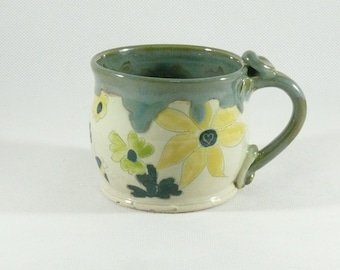 Ceramic Coffee Cup,  Holds 12 ounces, Teacup, Latte or Tea Mug, Kitchen dinnerware, Gift for Her, Espresso Cup, Ceramics and Pottery