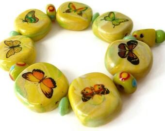 Yellow Butterfly, Butterfly Bracelet, Yellow Bracelet, Elastic Bracelet, Butterfly Decal, Beads Yellow Green, Glass Bracelet Yellow