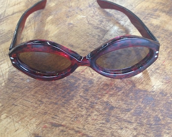 Vintage 1960's French Red Tortoise Shell Sunglasses Riesco France