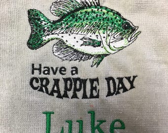 Crappie fishing towel, Fishing, Fishing towel, camping, fish, fathers day, embroidered, camping towel, catfish, bass, crappie and trout