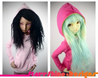 BJD MSD 1/4 Doll Clothing - Design Your Own Girl Style Pullover Hoodie - 20 Colors
