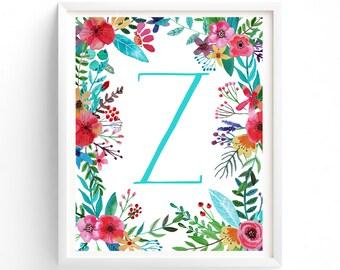 Printable Letter Monogram, Z, Nursery Art. Art Prints, Baby Girl Nursery, Wall art Prints