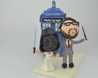 Vader Bride and Wizard Groom - Dr. Who themed. Harry Potter/Star Wars cake topper. Couple holding hands.  Handmade. Fully customizable.