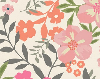 Pink and Orange Floral Tropic Organic Fabric - By The Yard - Girl / Modern / Fabric