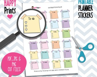 Post it Check List, Printable Planner Stickers.