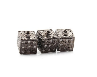 MEMORIAL DAY SALE 1 Pc Pave  Diamond Cubes  925 Sterling Silver Beads -Antique Finish Cube Bead 5 mm Pdc537